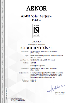 Molecor achieves the first product certification for  ecoFITTOM® PVC-O fittings