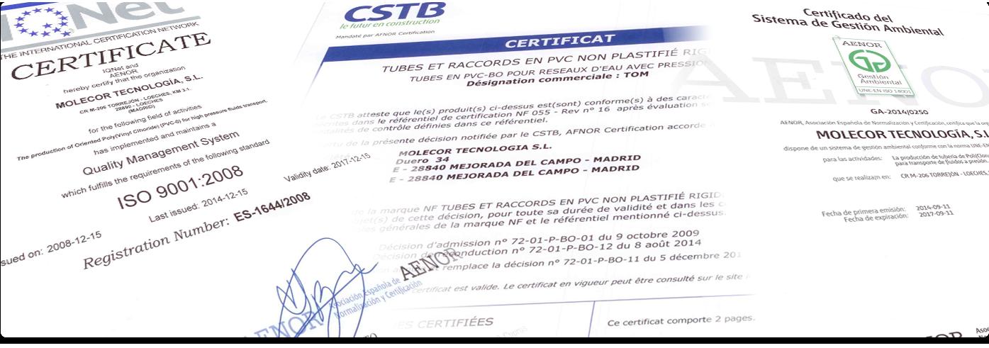 Certifications Molecor